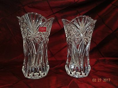 Pr JG Durand French Lead Crystal Vases * Fluted * Multi-Patterned * New w/o Box