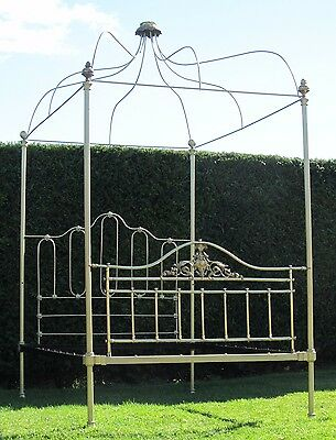 Stunning Victorian Brass and Iron Four Poster Double Bed with Spring Base