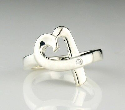 TIFFANY & CO. Signed PALOMA PICASSO Sterling Silver Diamond LOVING HEART Ring