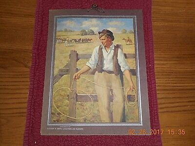 Vintage 1940 Calendar Robinson Smith dry cleaners Gloversville Cowboy w Lasso