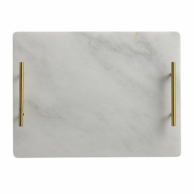 NEW Maxwell & Williams Mezze Marble Tray Gold Handle 40x30cm
