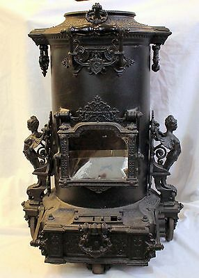 High Victorian Ornate Cast Iron Parlor Stove ~ PARIS, FRANCE ~ Detailed Woman