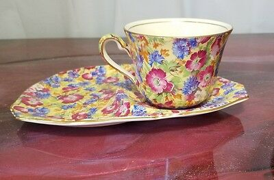 """Royal Winton Grimwades """"Royalty"""" Chintz  Tennis / Snack Set Tea Cup and Saucer"""