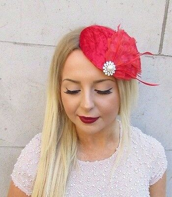Red Silver Peacock Feather Velvet Fascinator Hair Clip Hat Races Vintage 2554