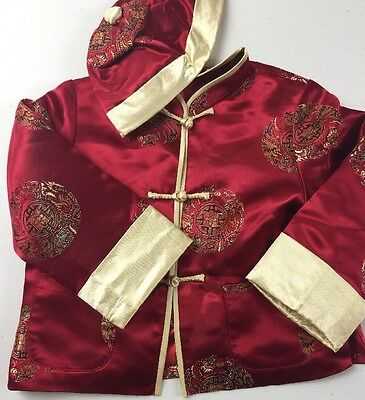 Child Baby Traditional Style Chinese Tang Jacket Coat Hat Red Gold USA