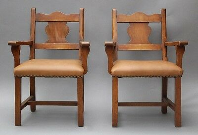 Pair 1930s Monterey Period Armchairs Antique Wood Rancho Chairs Seat (10116)
