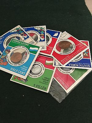 Vintage Post Sugar Crisp Foreign Coins of the World Lot of 8
