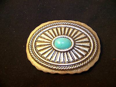 Belt Buckle Silver With Turquoise Stone Floral patern See Pix for Connections