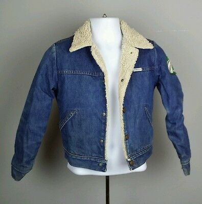 Vintage Wrangler Youth Blue Jean Denim Sherpa Fleece Lined Jacket Coat Western