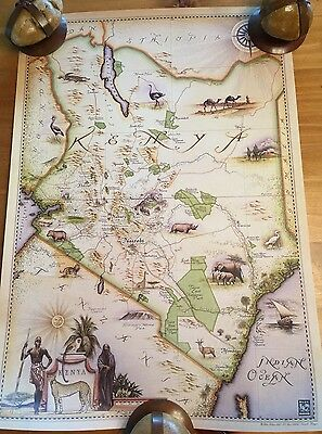 Vintage Style Map Of Kenya Africa Could Frame Pristine Rolled In Tube ~Gorgeous!