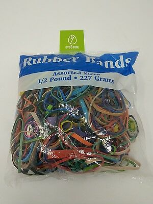 Bazic Rubber Bands Assorted 1/2 Half Pound 227g Multi Color & Size 465 Count USA