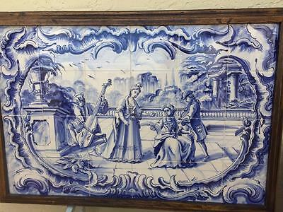 Antique Traditional Amazing Hand Painted  Azulejos Tile  Mural Panel 36X25