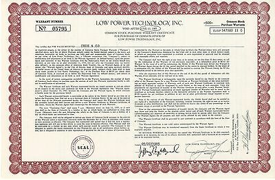 Low Power Technology Inc   1985 Colorado LPTV old stock certificate share
