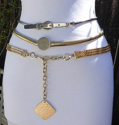 Three Different Vintage Silver & Gold Tone Metal Stretch Snake & Mesh Belts