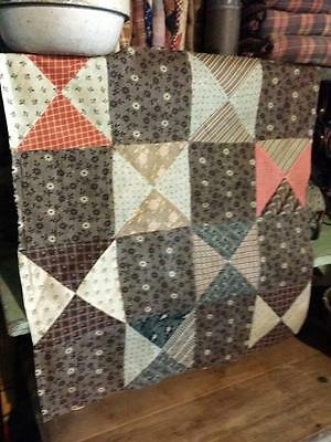 "Antique 19thc Madder Browns Orange Quilt Top Fabric Pc 22""x 23"" Prim"