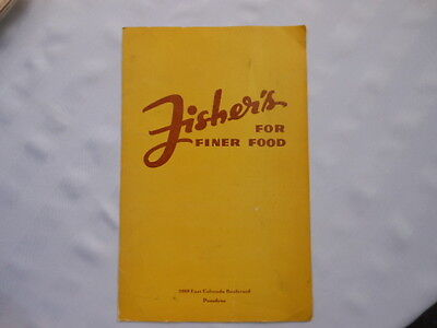 Fishers For Finer Foods Pasadena California Route 66 Dinner Menu Soda Fountain