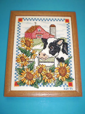 Country Scene Sunflowers Cow Barn Farm Finished Framed Cross Stitch
