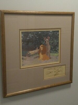 Authentic Framed Dye Transfer Lady And The Tramp Signed By Walt Disney Autograph