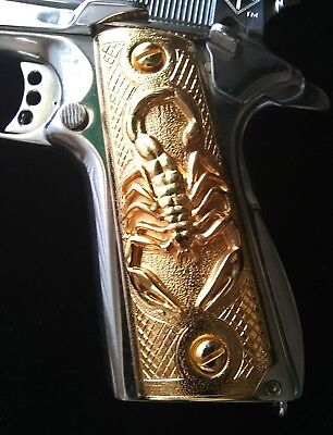 1911 Cachas Government SCORPION Custom Pistol Grips 24K Gold Plated Free Screws