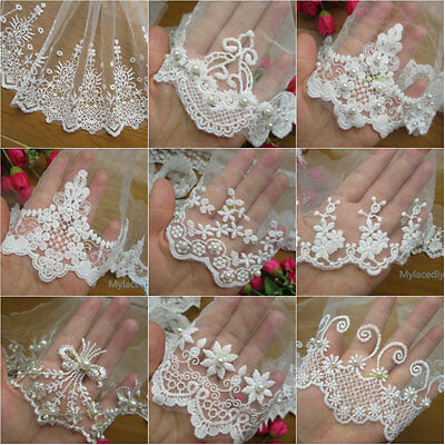 1yd Embroidered Cotton Net Lace Edge Trim Wedding Ribbon Applique Sewing Craft