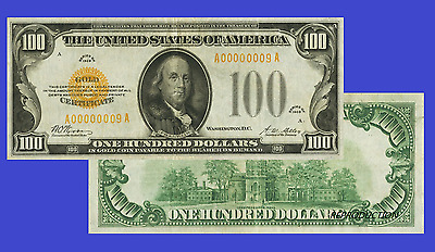 USA 100 DOLLARS 1928. GOLD CERTIFICATE. UNC - Reproduction