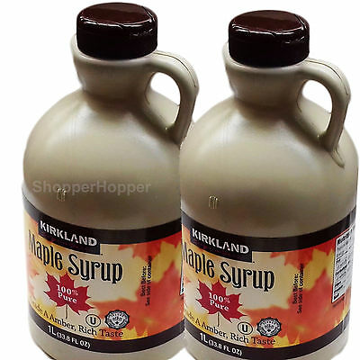 2 Litres 100% PURE Maple Syrup Grade A Amber  No Additives - 2 x 1 Litre