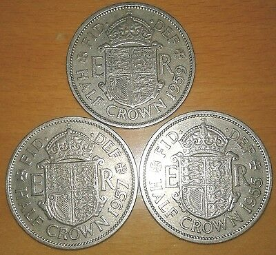 Great Britain Half Crown 1955  1957 1959 -A Lot Of 3 Coins