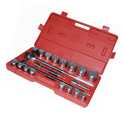 Am-Tech 3/4-inch Socket Set in Red Blow Case (21 Pieces)