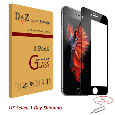 2Pk Full Coverage HD Tempered Glass Film Screen Protector for iPhone 6s 7 8 Plus