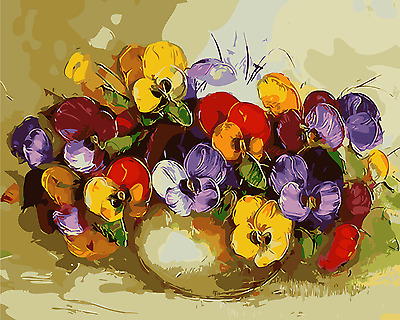 Framed Painting by Number kit A Vase of Flowers Pansy Floral Ikebana DIY MB7015