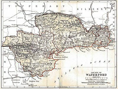 3 maps of County Waterford and Ireland,dated 1840 & 1897 & a Munster fact sheet.