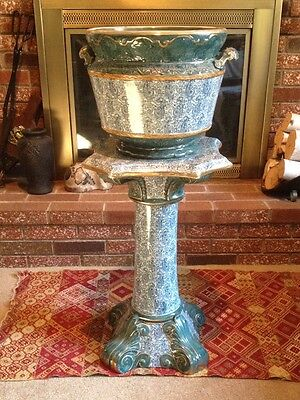 "Vintage Antique English Etruria 35"" Tall Jardiniere with Matching Ceramic Pedest"