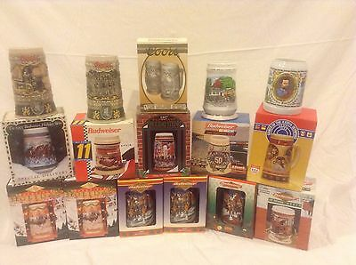 Beer Mugs- Lot Of 16- Budweiser, Coors. Most New In Box W COA!!