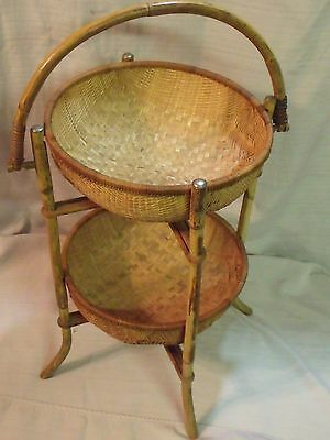 Vintage Chinese Bamboo Two Tier Folding Basket Shelf Stand
