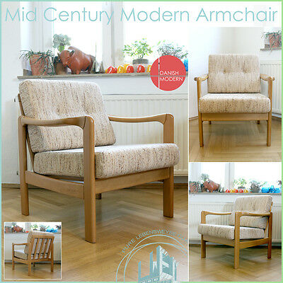 Mid Century Modern Wood ❤️ Fabric Vintage Armchair Sessel Denmark Co. ❤️ Germany