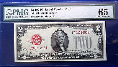 $2  1928G Legal Tender Note Fr#1508  PMG65 Gem Uncirculated
