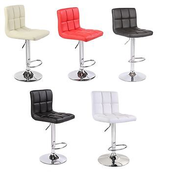 2 x Bar Stools Faux Leather Chrome Pub Kitchen Barstool Breakfast Bar Chair