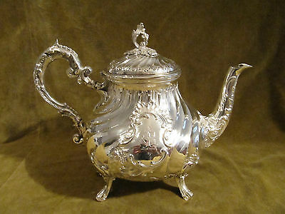 Gorgeous 1900 french sterling silver large tea pot rococo Folliot 700g