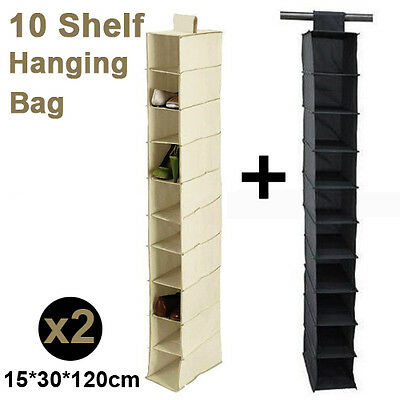 2X10 Section Clothes Hanging Organiser Storage Wardrobe Closet Shoes Rack