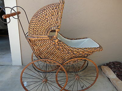 Vintage Style Wicker Doll Carriage, Buggy, Removable Top,metal Spoke Wood Wheels