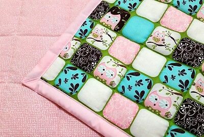 "New, handmade,""PINK OWL"", 34.5x42in, cotton, girls baby/toddler quilted blanket"