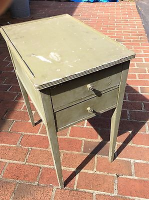 """Vintage Small Green 2 Drawer Wood Table - Top 14"""" X 21"""" X 26"""" High - Very Good"""