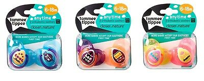 Tommee Tippee Any Time Soother pack of 2 Age 6-18m boys/girls Bpa Free