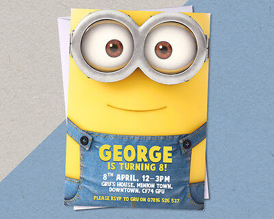 12 x Personalised Minion Birthday Party Invitation/Invites A6 FREE Envelopes