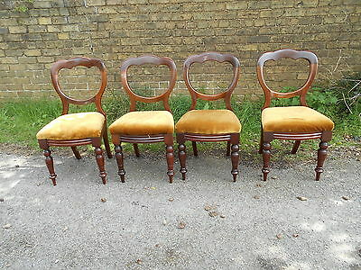 Set Four Victorian Mahogany Balloon Back Dining Chairs