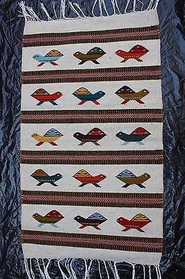 Mexican Textile Rug Ethnic Native Art Craft Wovan Yarn Turtle Wallhanging Carpet