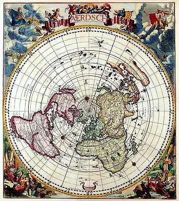 Flat Earth Map (33x30 inch) - Nieuw Aerdsch Pleyn by Jacobus Robijn 1700 - PVC