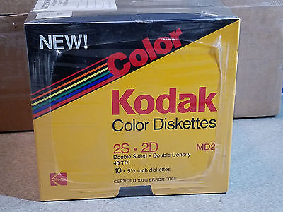 "30 Vintage Kodak Color 5 1/4"" Floppy Diskettes 2S 2D MD2 48 TPI New Unused NOS"