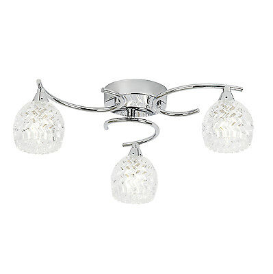 Endon Boyer ceiling light 3x 33W Chrome effect & clear glass with pattern detail