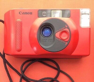 Red Canon Snapoy S AF 35mm Compact Camera with Canon Lens 1:4.5